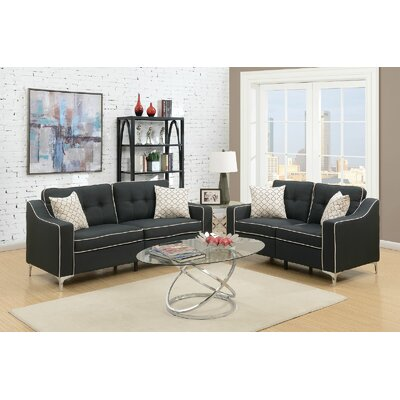Fleek 2 Piece Living Room Set Upholstery: Black