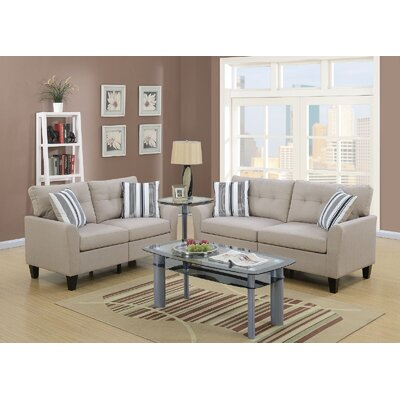 Channahon Sofa and Loveseat Set Upholstery: Beige