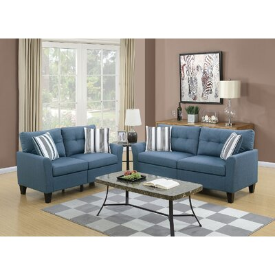 Channahon Sofa and Loveseat Set Upholstery: Blue