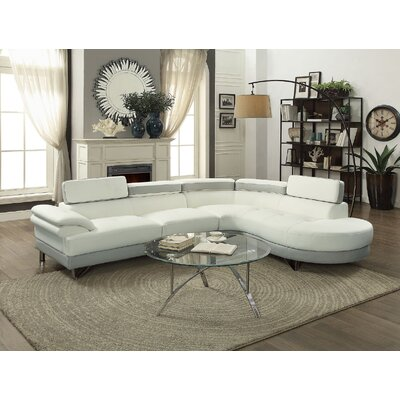 Ketan Sectional Upholstery: White/Gray