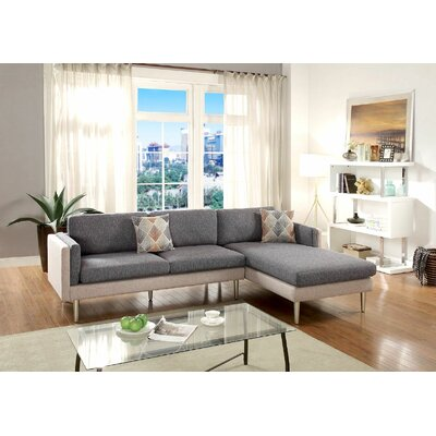 Upper Strode Reversible Sectional Upholstery: Black/Sand