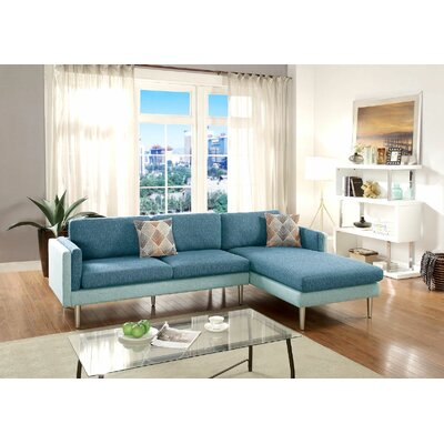 Upper Strode Reversible Sectional Upholstery: Blue/Aqua