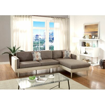 Benavides Upper Strode Reversible Sectional Upholstery: Coffee/Platinum