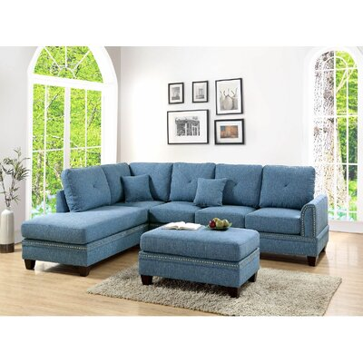 Chapin Reversible Sectional Upholstery: Blue