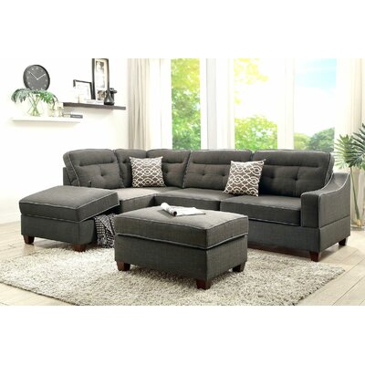 Charbonneau Reversible Sectional Upholstery: Charcoal/Black