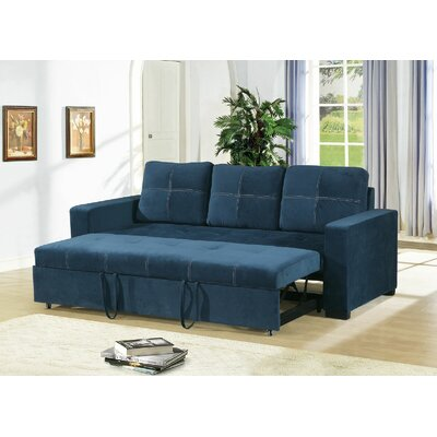 Clauderson Leather Reclining Sofa Upholstery: Navy