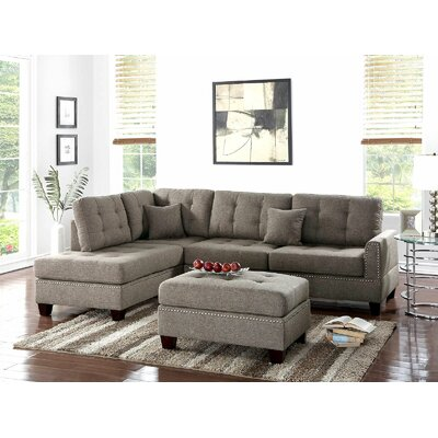 Ilasha Reversible Sectional with Ottoman Upholstery: Brown