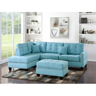 Ilasha Reversible Sectional Upholstery: Blue