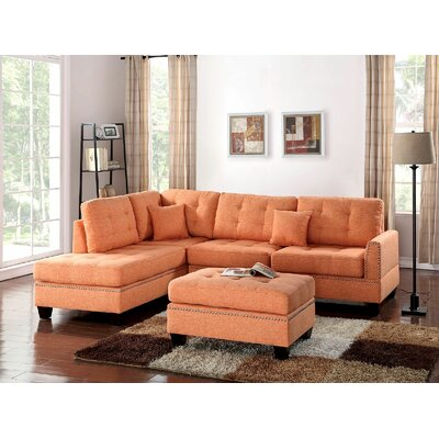 Ilasha Reversible Sectional with Ottoman Upholstery: Orange