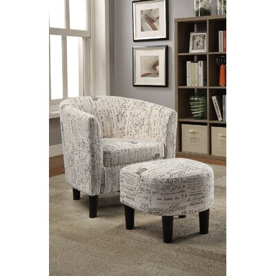 Portersville Barrel Chair and Ottoman Upholstery: Script Pattern