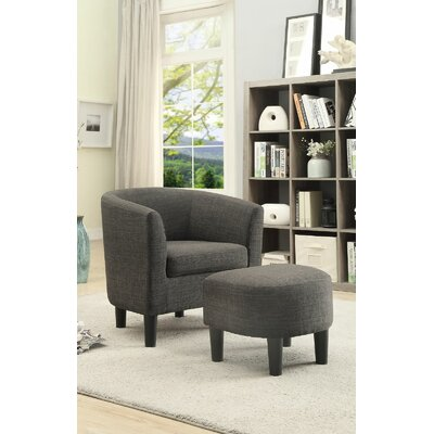 Portersville Cube Chair and Ottoman Upholstery  Color: Ash Black