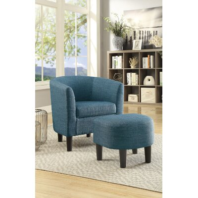 Portersville Cube Chair and Ottoman Upholstery  Color: Blue