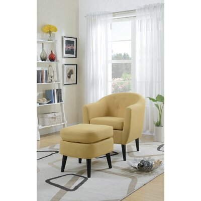 Burhall Club Chair and Ottoman Upholstery  Color: Citrus