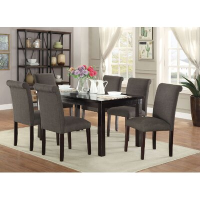 Abbot Bridge 7 Piece Dining Set Chair Color: Ash Black