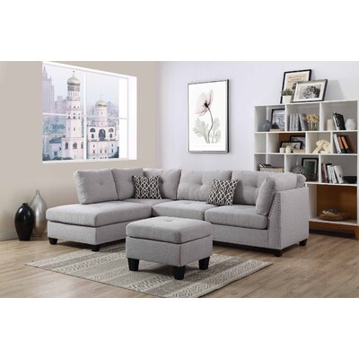 Lambert Sectional with Ottoman Upholstery: Light Gray, Orientation: Right Hand Facing