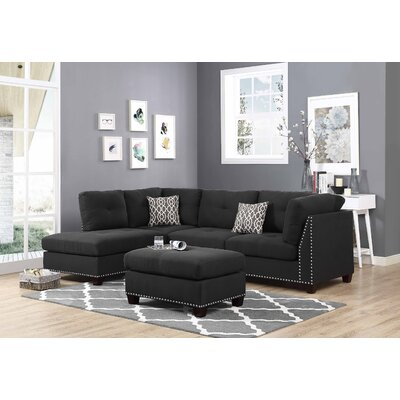 Lambert Sectional with Ottoman Upholstery: Ash Black, Orientation: Right Hand Facing