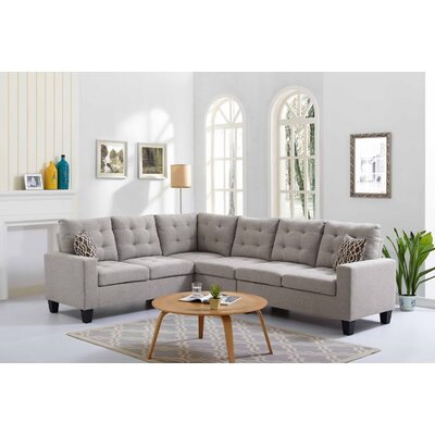 Temme Reversible Sectional Upholstery: Taupe Gray