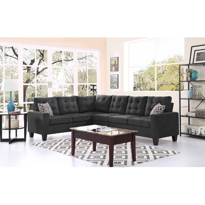 Temme Reversible Sectional Upholstery: Ash Black