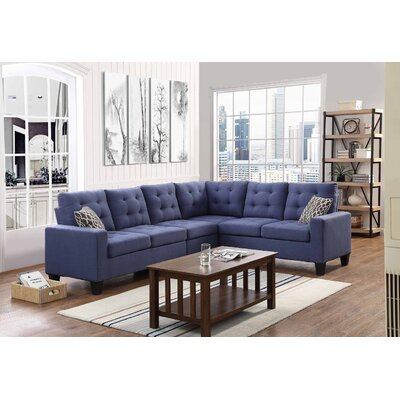Temme Reversible Sectional Upholstery: Ink Blue