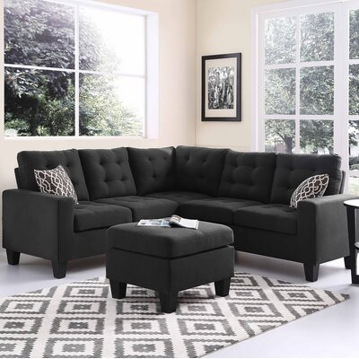 Pawnee Sectional with Ottoman Upholstery: Ash Black