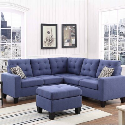 Pawnee Sectional with Ottoman Upholstery: Ink Blue