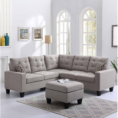 Pawnee Sectional with Ottoman Upholstery: Taupe Gray
