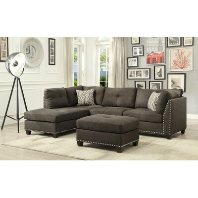 Ruthann Sectional with Ottoman Upholstery: Charcoal
