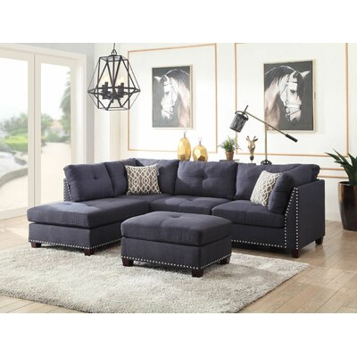 Ruthann Sectional with Ottoman Upholstery: Navy