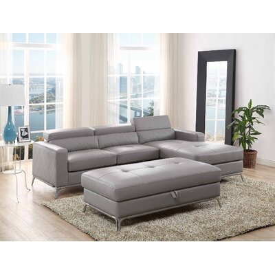 Crotts Storage Sectional with Ottoman Upholstery: Gray