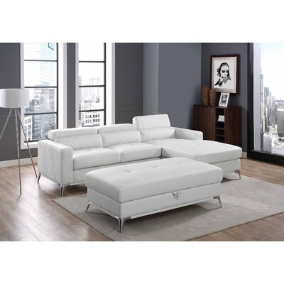 Crotts Storage Sectional with Ottoman Upholstery: White