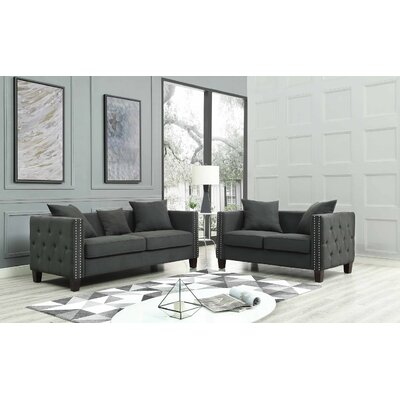 Connelly 2 Piece Living Room Set� Upholstery: Dark Gray