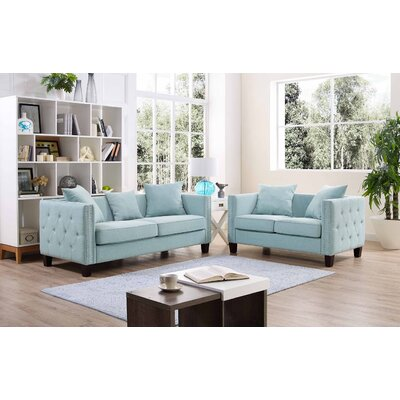 Connelly 2 Piece Living Room Set� Upholstery: Light Blue