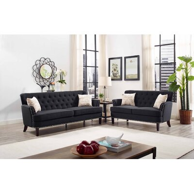 Connelly 2 Piece Living Room Set� Upholstery: Black
