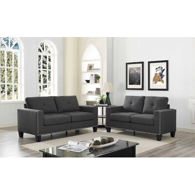 Payson 2 Piece Linen Living Room Set� Upholstery: Dark Gray