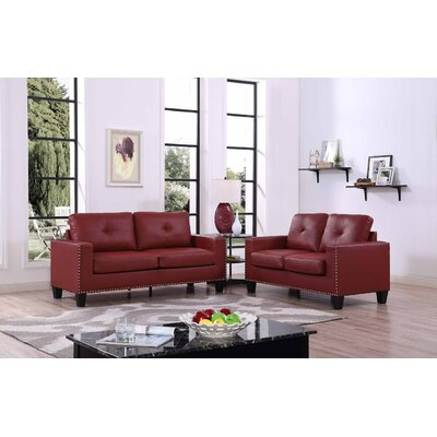 Payson 2 Piece Faux Leather Living Room Set� Upholstery: Red