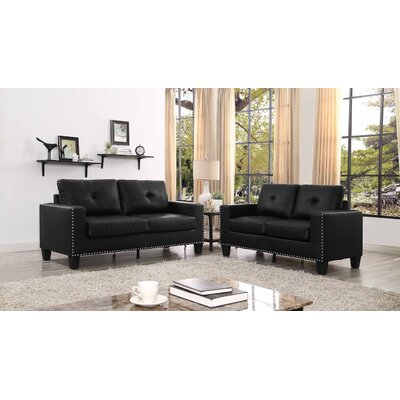 Payson 2 Piece Faux Leather Living Room Set� Upholstery: Black