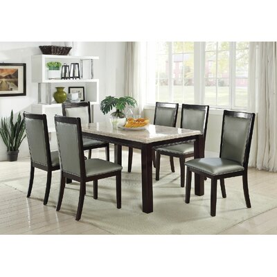 Crossett 7 Piece Dining Set Upholstery Color: Silver Gray