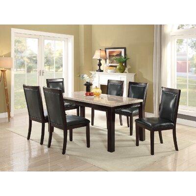 Crossett 7 Piece Dining Set Upholstery Color: Black