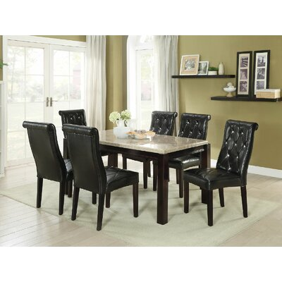 Hayman 7 Piece Dining Set Upholstery Color: Black