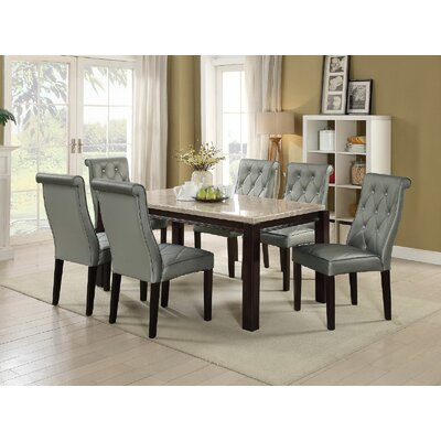 Hayman 7 Piece Dining Set Upholstery Color: Silver Gray