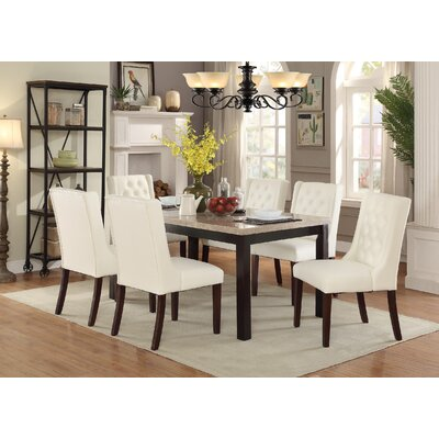 Haynie 7 Piece Dining Set Table Top Color: White Marble, Chair Color: Cream White