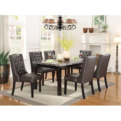Haynie 7 Piece Dining Set Table Top Color: Black Marble, Chair Color: Espresso