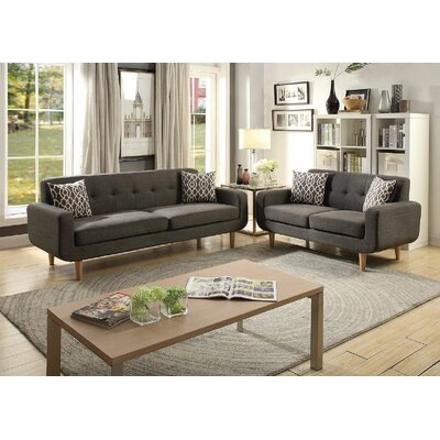 Yamashita 2 Piece Living Room Set Color: Ash Gray Black