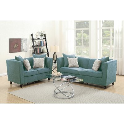 Causey 2 Piece Living Room Set Color: Hydra Blue