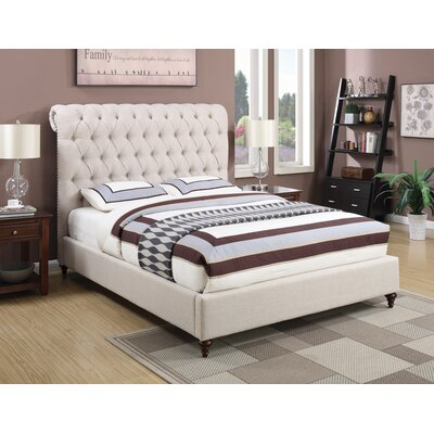 Leilani Upholstered Panel Bed Size: California King, Color: Beige