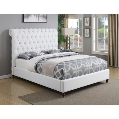 Leilani Upholstered Panel Bed Size: California King, Color: White