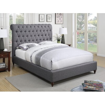 Leilani Upholstered Panel Bed Size: California King, Color: Gray
