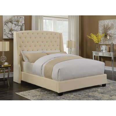 Ecklund Upholstered Panel Bed Size: Queen, Color: Cream