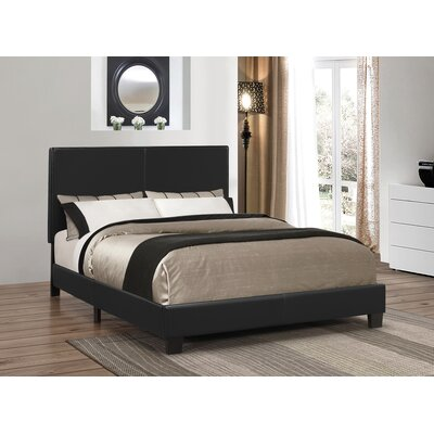 Winburn Upholstered Panel Bed Size: Twin, Color: Black