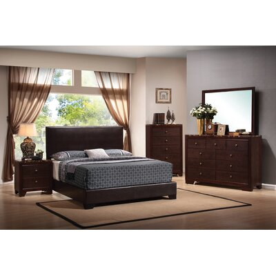 Braedyn Upholstered Panel Bed Size: Twin, Color: Dark Brown